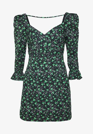 PRINTED PLEATED BODY MINI DRESS - Denní šaty - multi