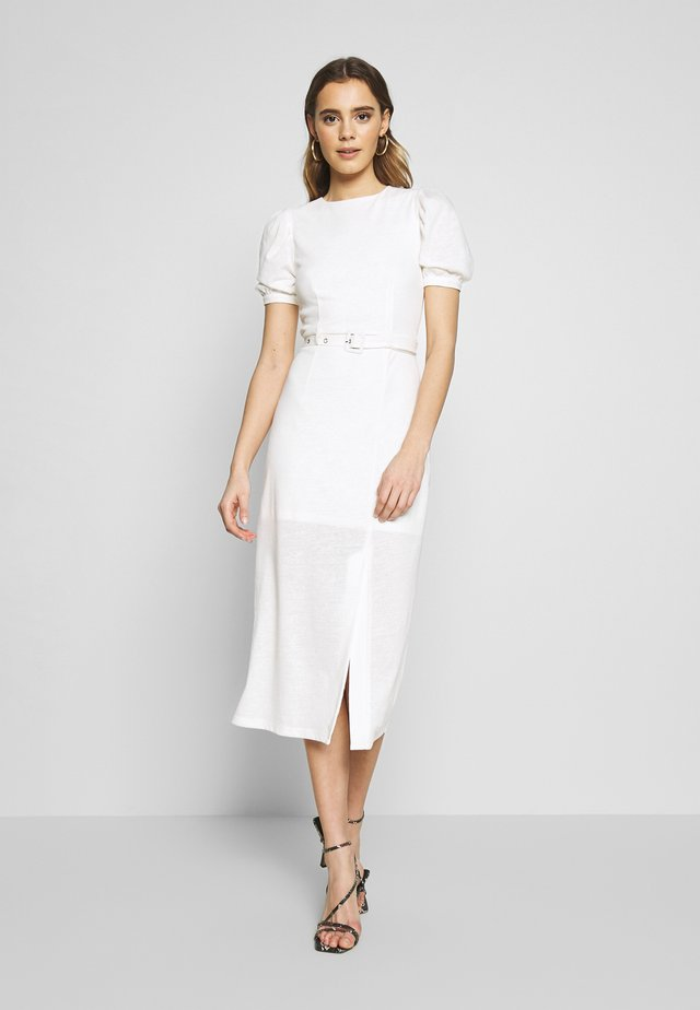 BELTED MIDI DRESS - Jersey dress - cream