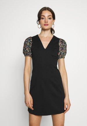 JACQUARD SLEEVE DETAIL MINI DRESS - Denní šaty - black