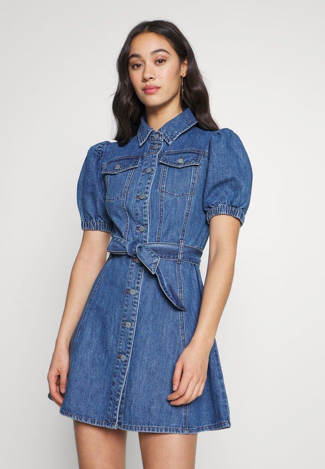 DENIM PUFF SLEEVE MINI DRESS - Spijkerjurk - dark denim