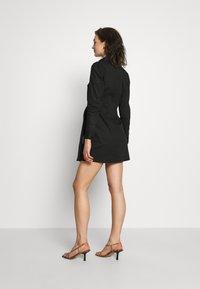 Lost Ink - TIE FRONT DRESS - Košilové šaty - black - 3