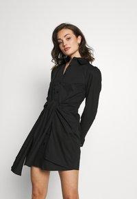 Lost Ink - TIE FRONT DRESS - Košilové šaty - black - 0