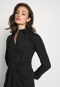 Lost Ink - TIE FRONT DRESS - Košilové šaty - black - 4