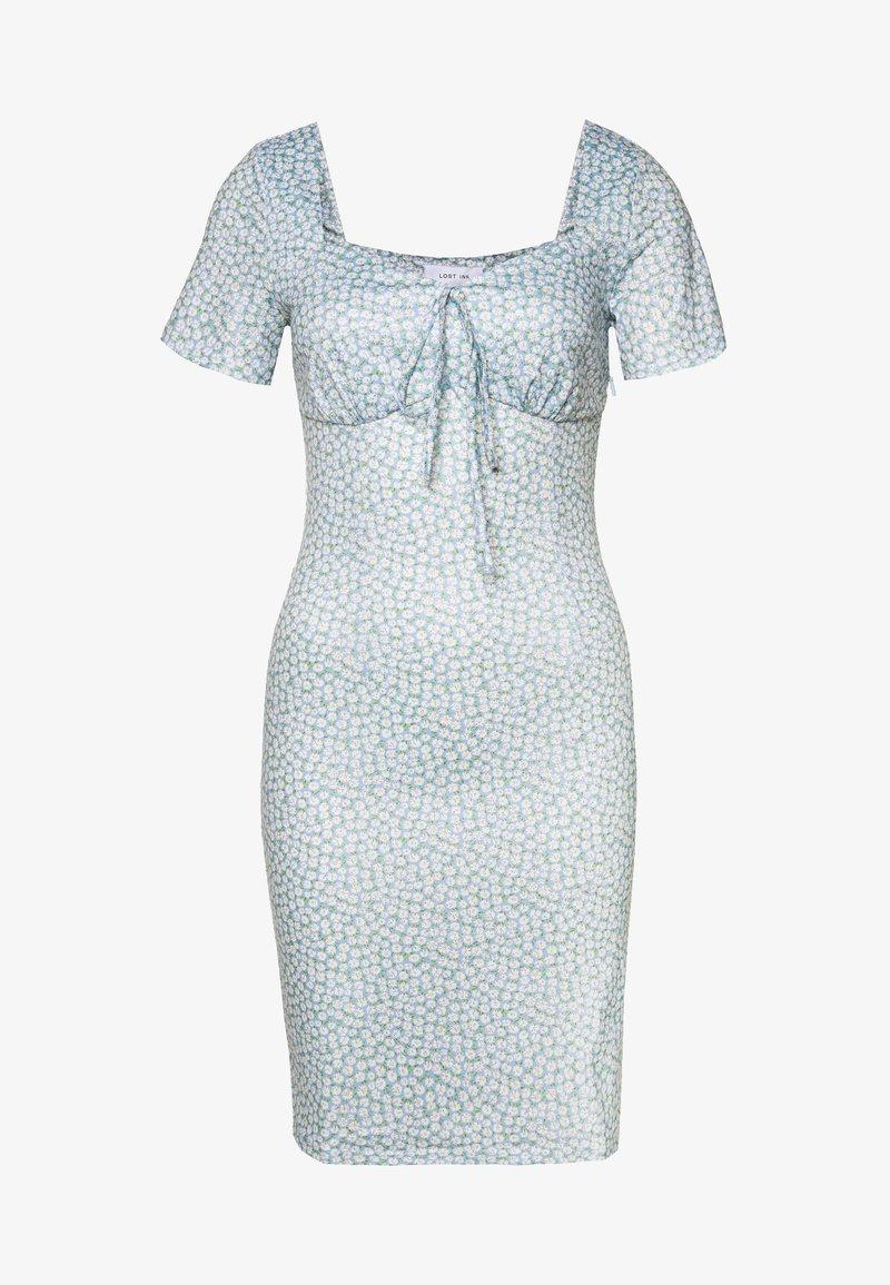 Lost Ink - PRINTED V NECK MINI DRESS - Jersey dress - multi