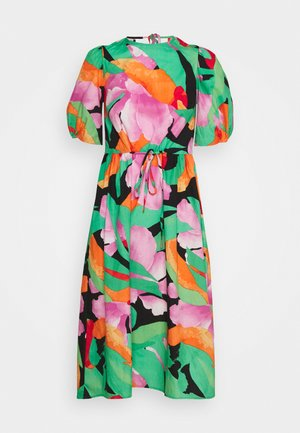 PUFF SLEEVE OPEN BACK PRINTED MIDI DRESS - Korte jurk - multi