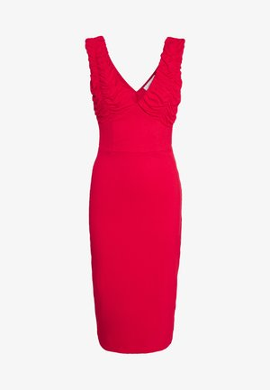 RUCHED SLEEVE BODYCON MIDI DRESS - Denní šaty - red