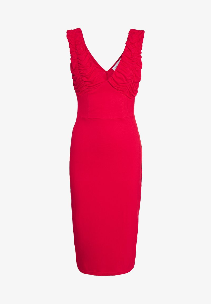 Lost Ink - RUCHED SLEEVE BODYCON MIDI DRESS - Denní šaty - red