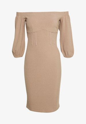 BARDOT PUFF SLEEVE MIDI DRESS - Vestido de tubo - beige