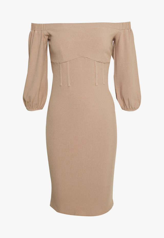 BARDOT PUFF SLEEVE MIDI DRESS - Sukienka etui - beige