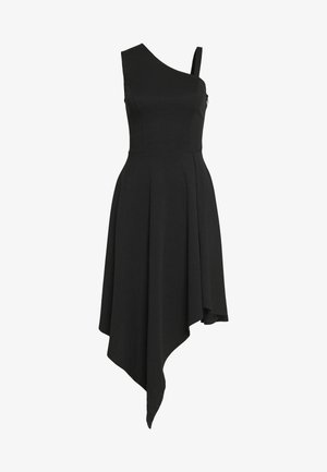 FRILL SHOULDER MIDI DRESS - Sukienka z dżerseju - black