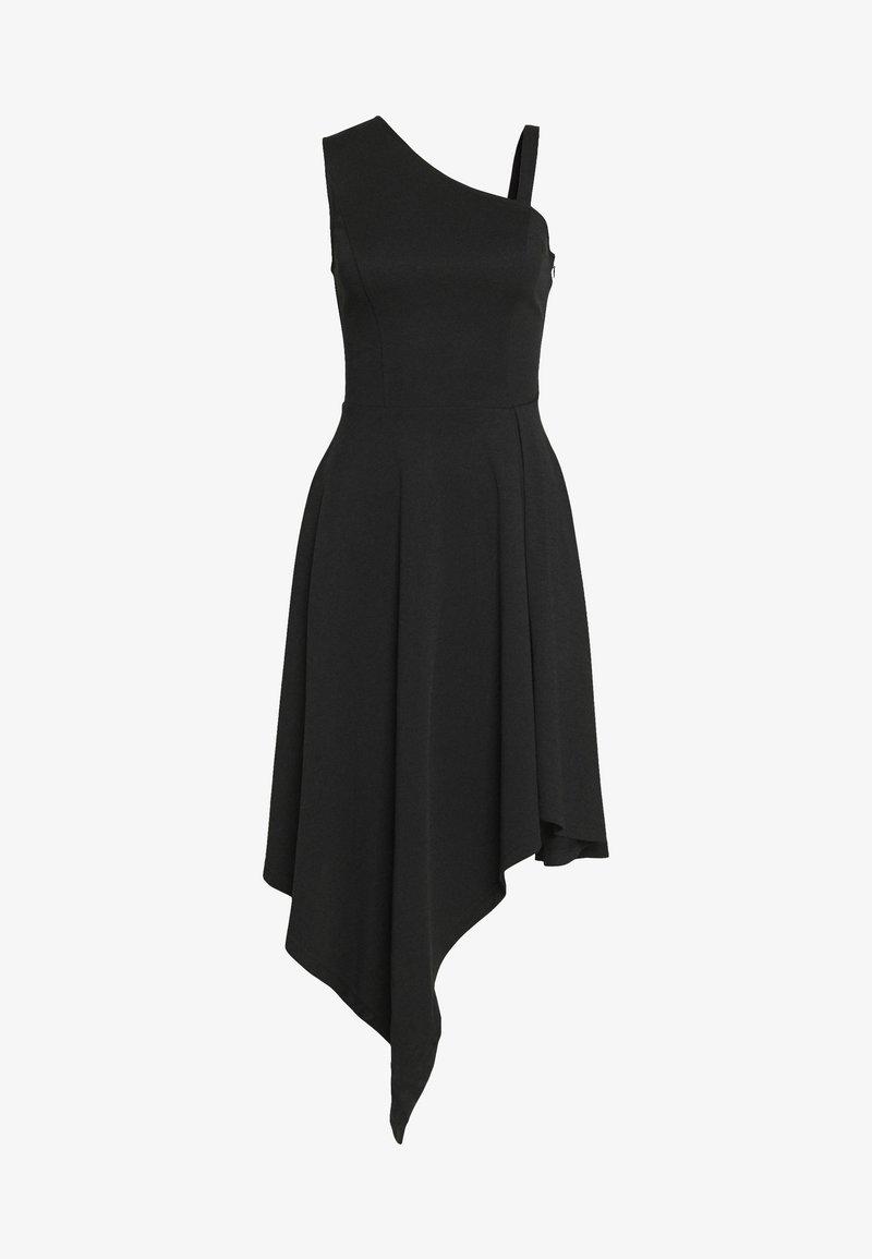Lost Ink - FRILL SHOULDER MIDI DRESS - Sukienka z dżerseju - black