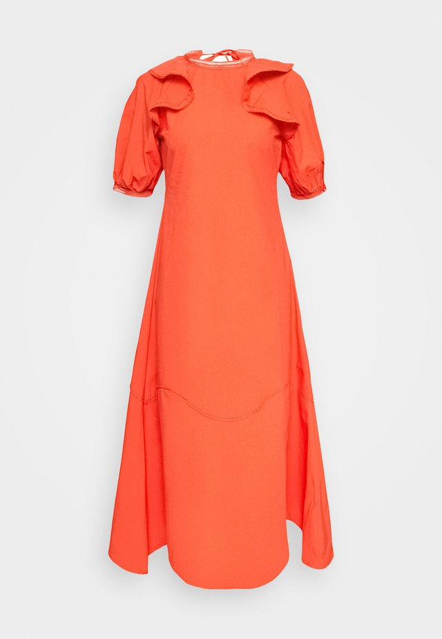 TRIM DETAIL RUFFLE SHOULDER  - Maxi dress - orange