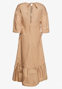 Lost Ink - TRIM INSERT BRODERIE MIDI DRESS - Košilové šaty - beige - 1