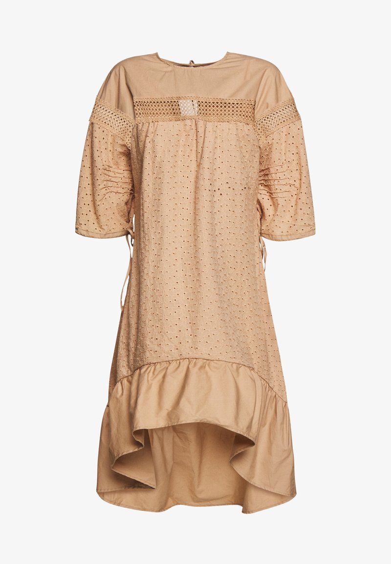 Lost Ink - TRIM INSERT BRODERIE MIDI DRESS - Košilové šaty - beige