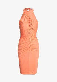 Lost Ink - RUCHED FRONT MIDI DRESS - Jersey dress - orange - 0
