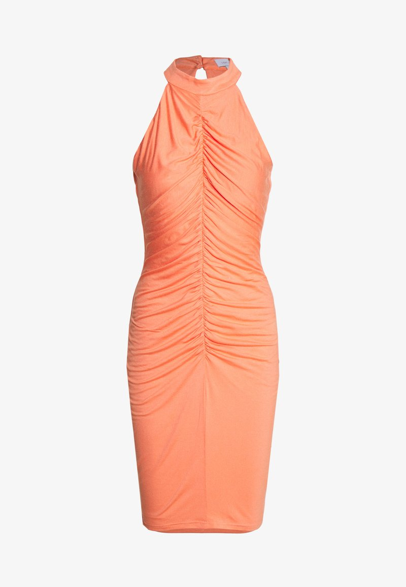 Lost Ink - RUCHED FRONT MIDI DRESS - Jerseykjole - orange