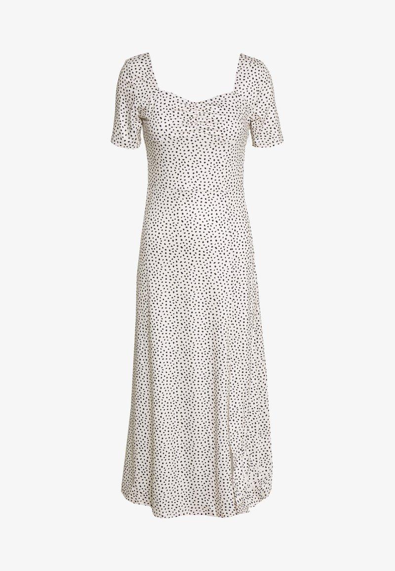 Lost Ink - MONO PRINT FRONT SPLIT SHORT SLEEVE DRESS - Žerzejové šaty - off-white, black