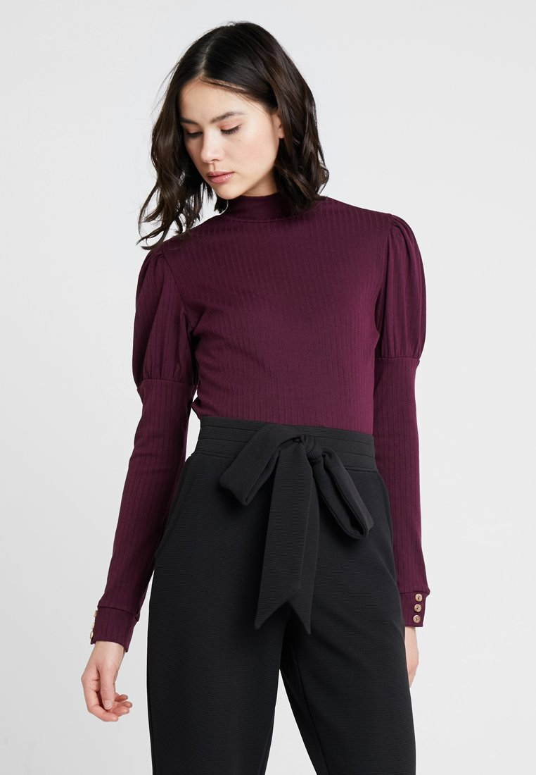 Lost Ink - WITH PUFFBALL SLEEVE - Long sleeved top - oxblood