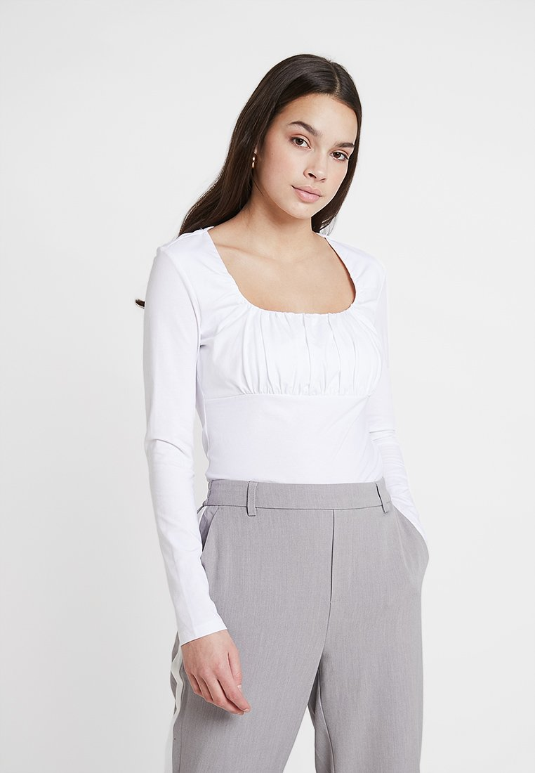 Lost Ink - RUCHED BUST - Long sleeved top - white