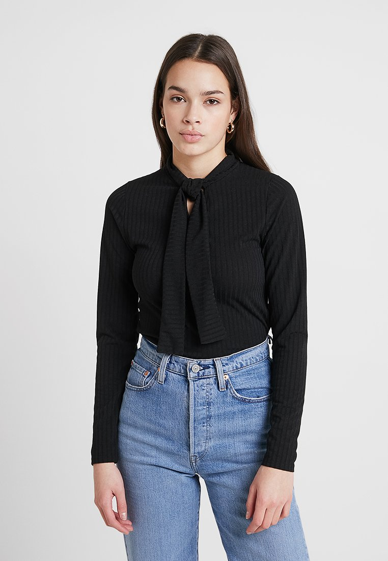 Lost Ink - WITH TIE NECK - Long sleeved top - black