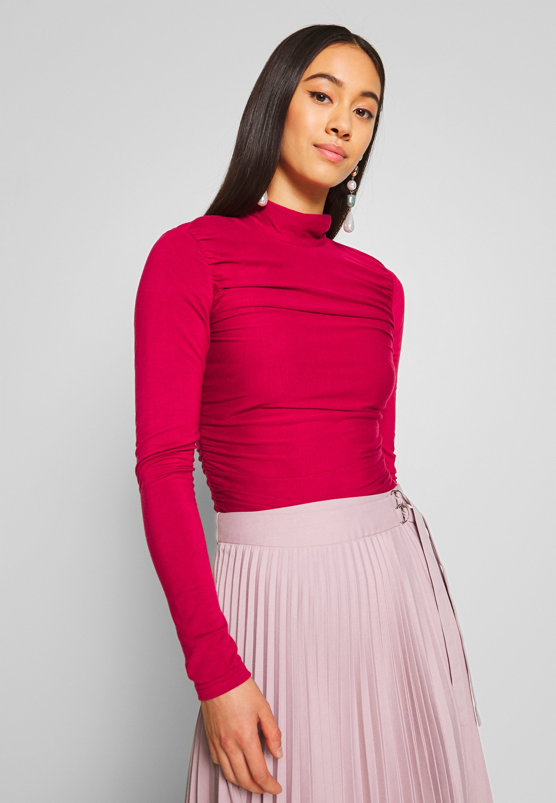 Lost Ink RUCHED DETAIL LONG SLEEVE - Topper langermet - red