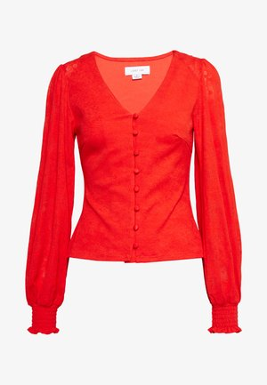 V NECK BUTTON FRONT JERSEY BLOUSE - Kardigan - red