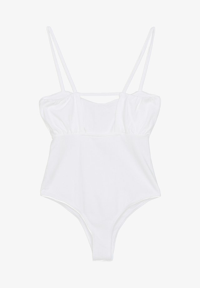 RUCHED BUST STRAPPY BODYSUIT - Body - white