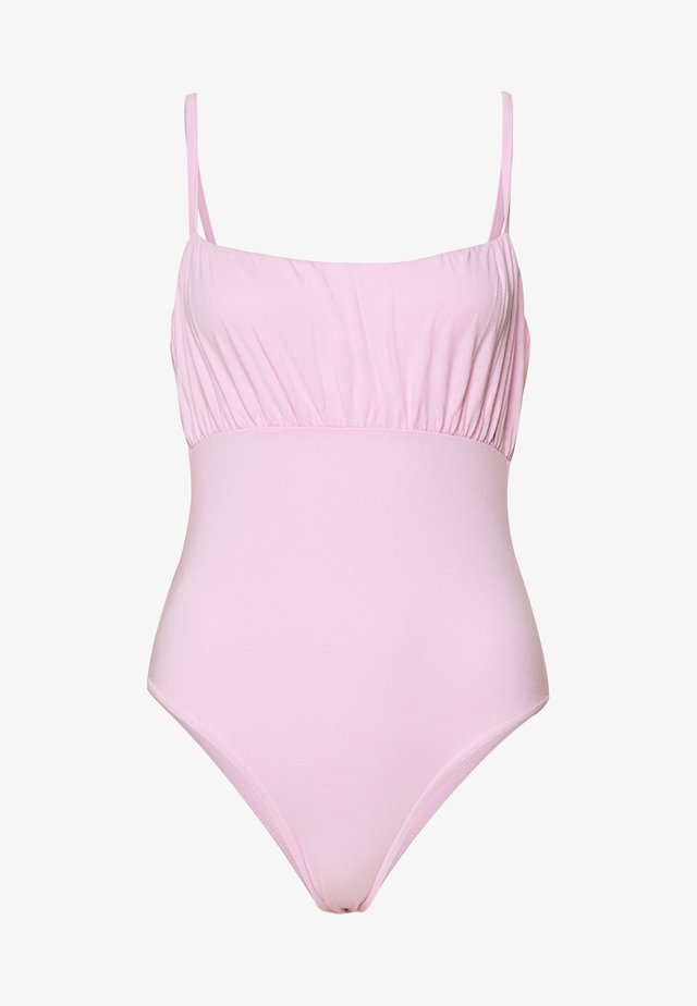 RUCHED BUST STRAPPY BODYSUIT - Body - pink