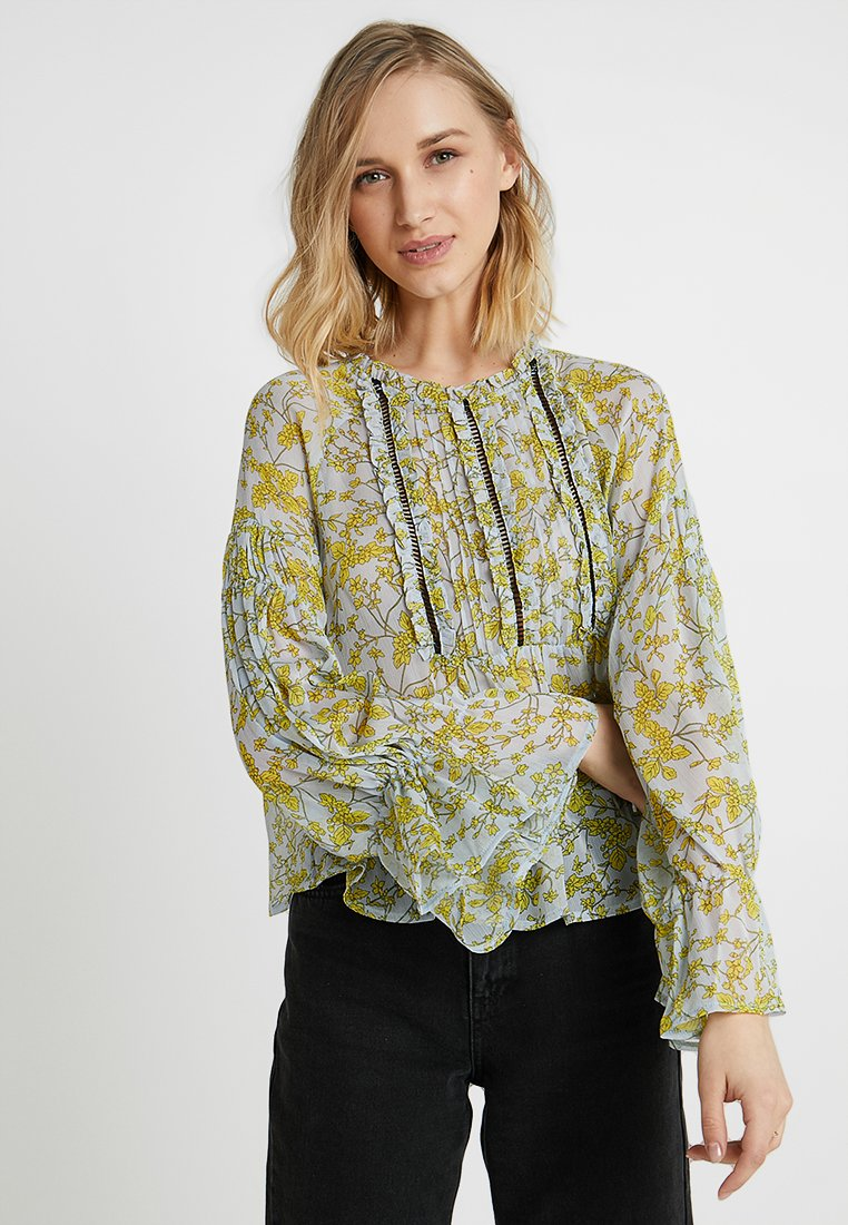 Lost Ink - BLOUSE IN PRINT WITH LADDER INSERT - Blouse - blue