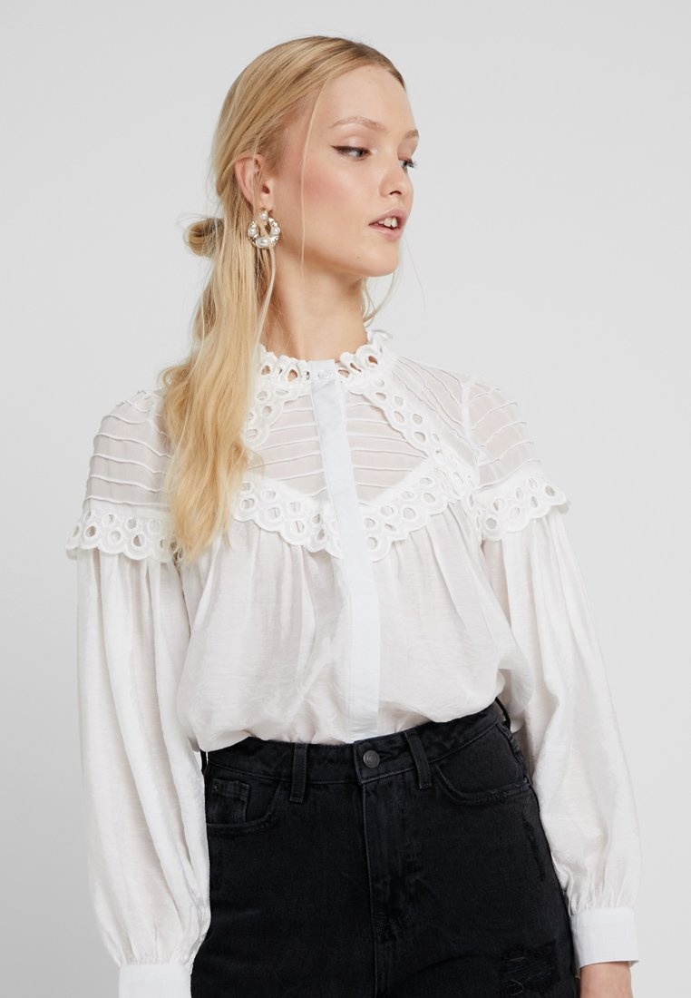 Lost Ink - WITH BRODERIE TRIM - Button-down blouse - white