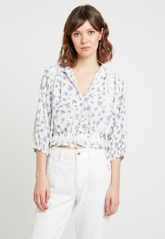 BLOUSE IN PRINT WITH TRIM DETAIL - Blouse - blue