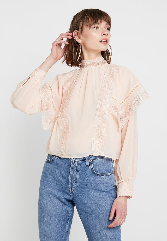 BLOUSE WITH CAPE DETAIL AND TRIM - Bluzka - blush