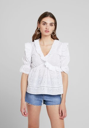 BLOUSE IN BRODERIE WITH FRILL DETAIL - Blouse - white