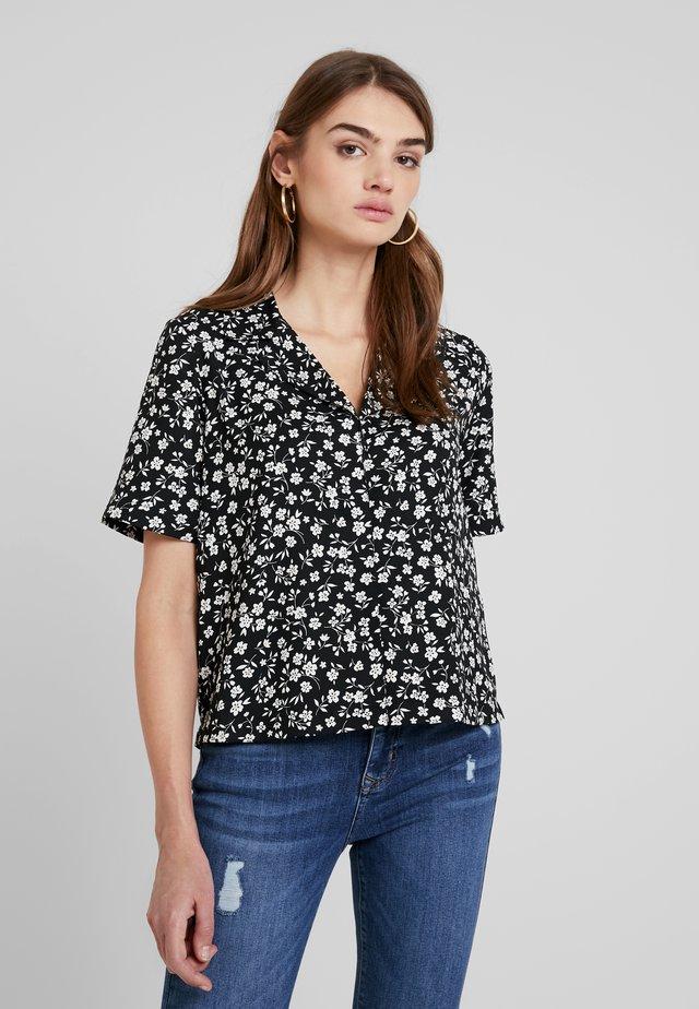 BLOUSE IN FLORAL PRINT - Button-down blouse - black