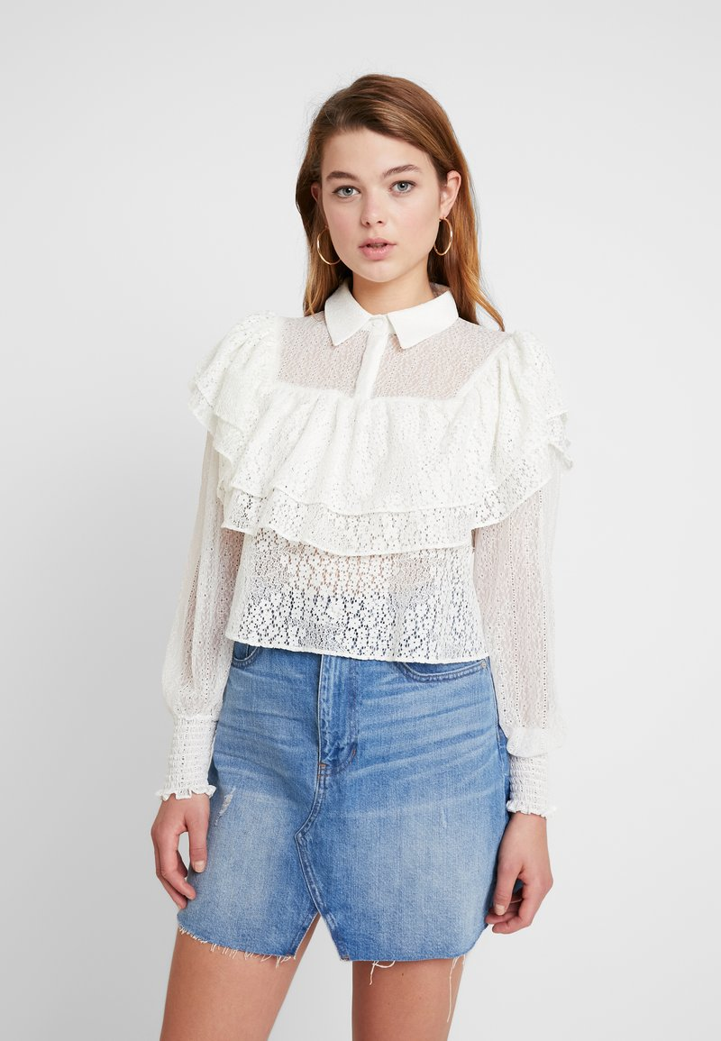 Lost Ink - MIX AND FRILL DETAIL - Blouse - ivory