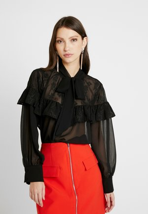 TIE NECK RUFFLE BLOUSE - Blus - black