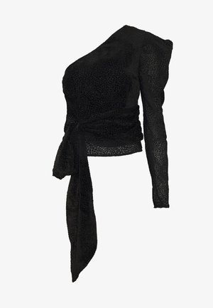 ONE SHOULDER PUFF SLEEVE BLOUSE - Blůza - black