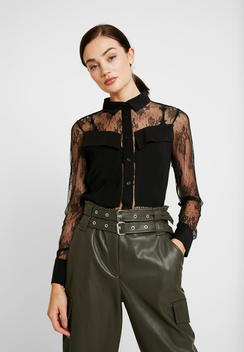 Lost Ink - POCKET FRONT - Overhemdblouse - black