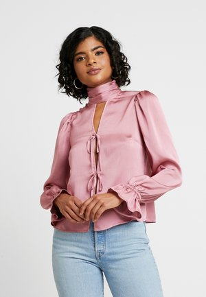TIE FRONT HIGH NECK BLOUSE - Blouse - pink