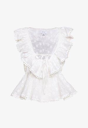 RUFFLE  FRONT TOP - Blusa - white
