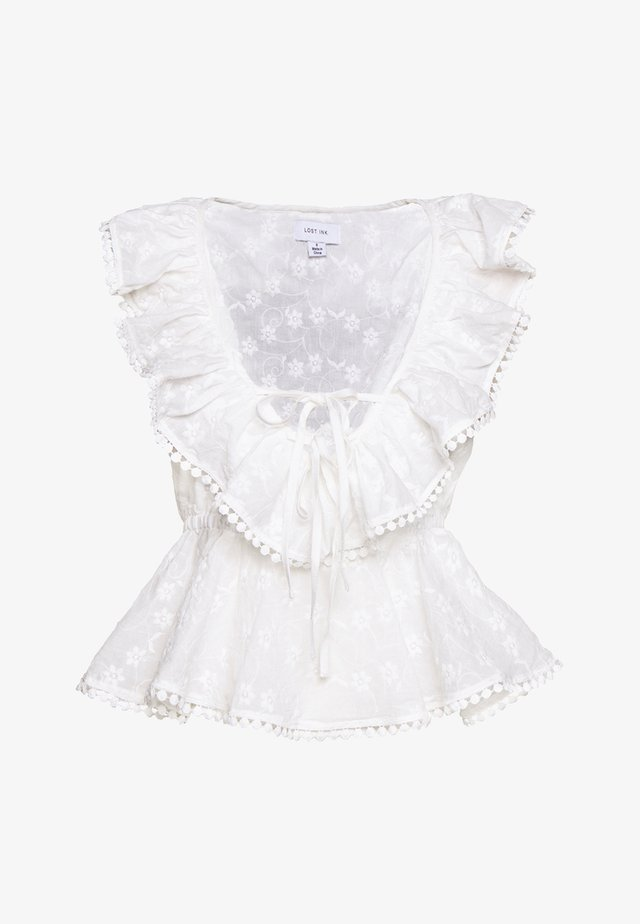 RUFFLE  FRONT TOP - Blus - white