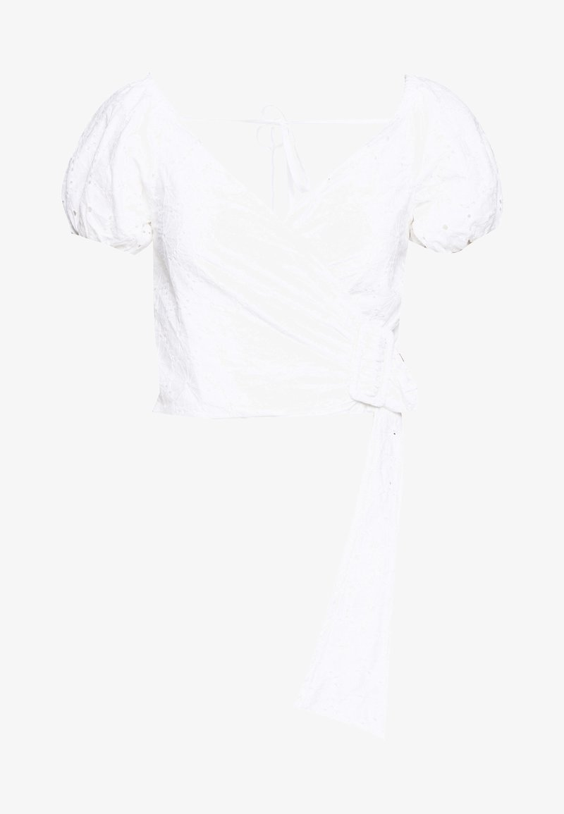 Lost Ink - WRAP BUCKLE TIE WAIST BLOUSE - Blouse - white