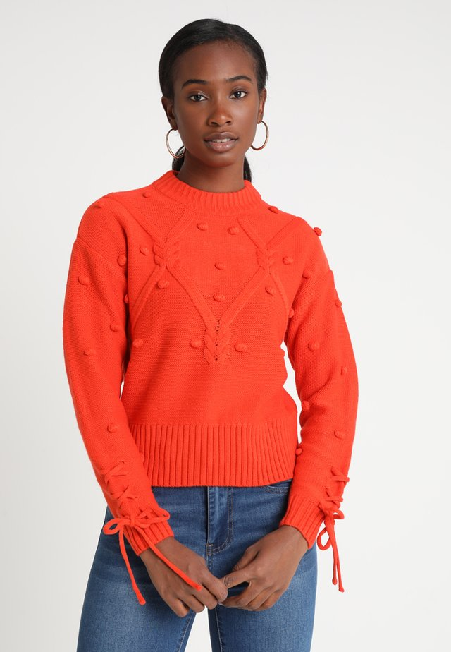 BOBBLE TIE SLEEVE CABLE JUMPER - Sweter - orange