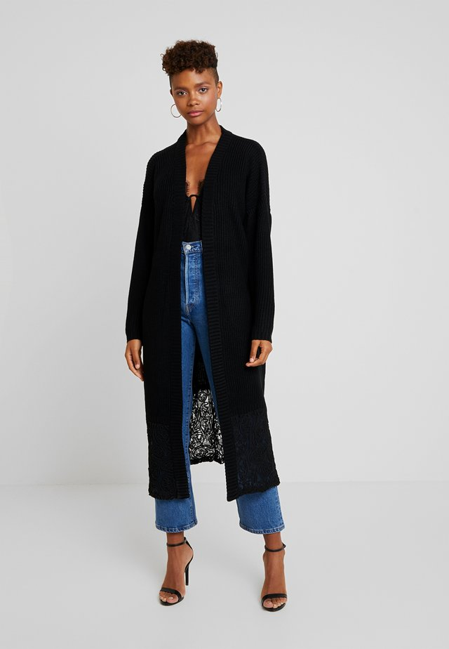 HEM VOLUME SLEEVE MAXI CARDIGAN - Strickjacke - black