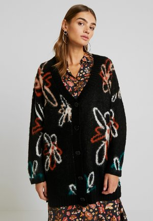 FLORAL BRUSHED GRANDAD CARDIGAN - Cardigan - black