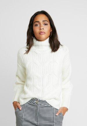 FUNNEL NECK MIX JUMPER - Pullover - off white