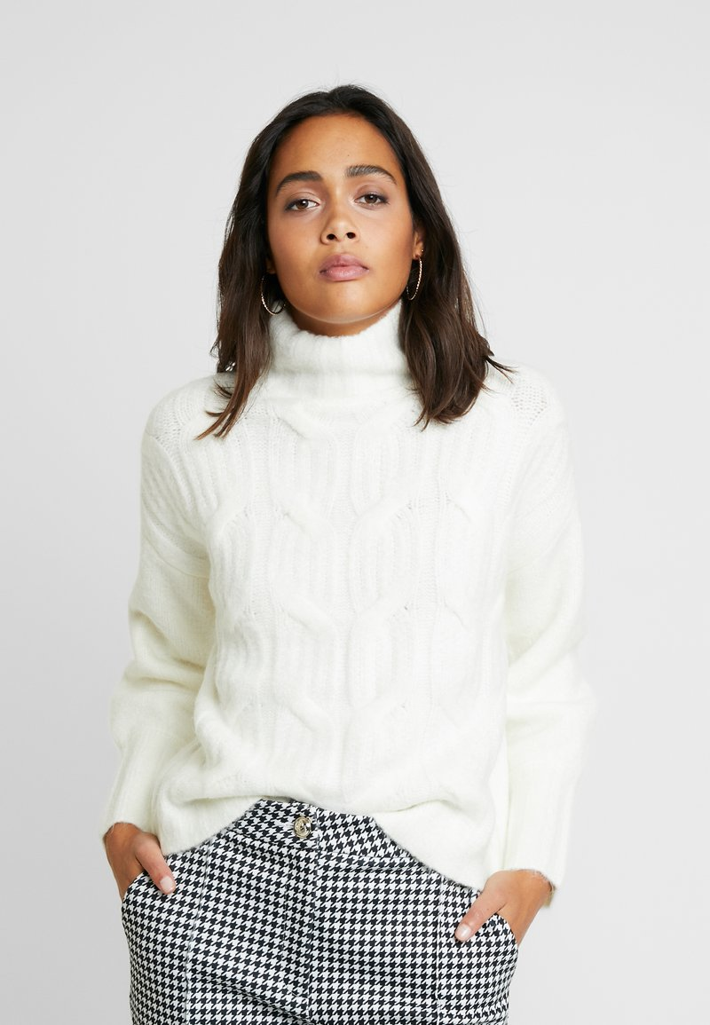 Lost Ink - FUNNEL NECK MIX JUMPER - Strikpullover /Striktrøjer - off white