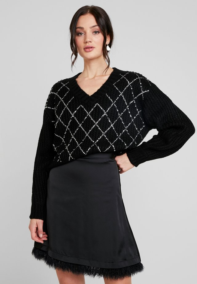 SEQUIN DETAIL JUMPER - Sweter - black