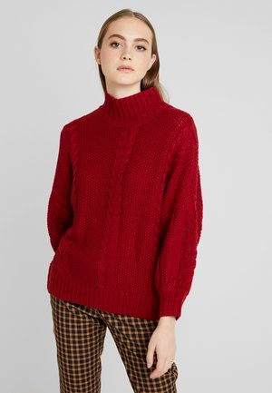 CABLE HIGH NECK JUMPER - Jumper - burgundy