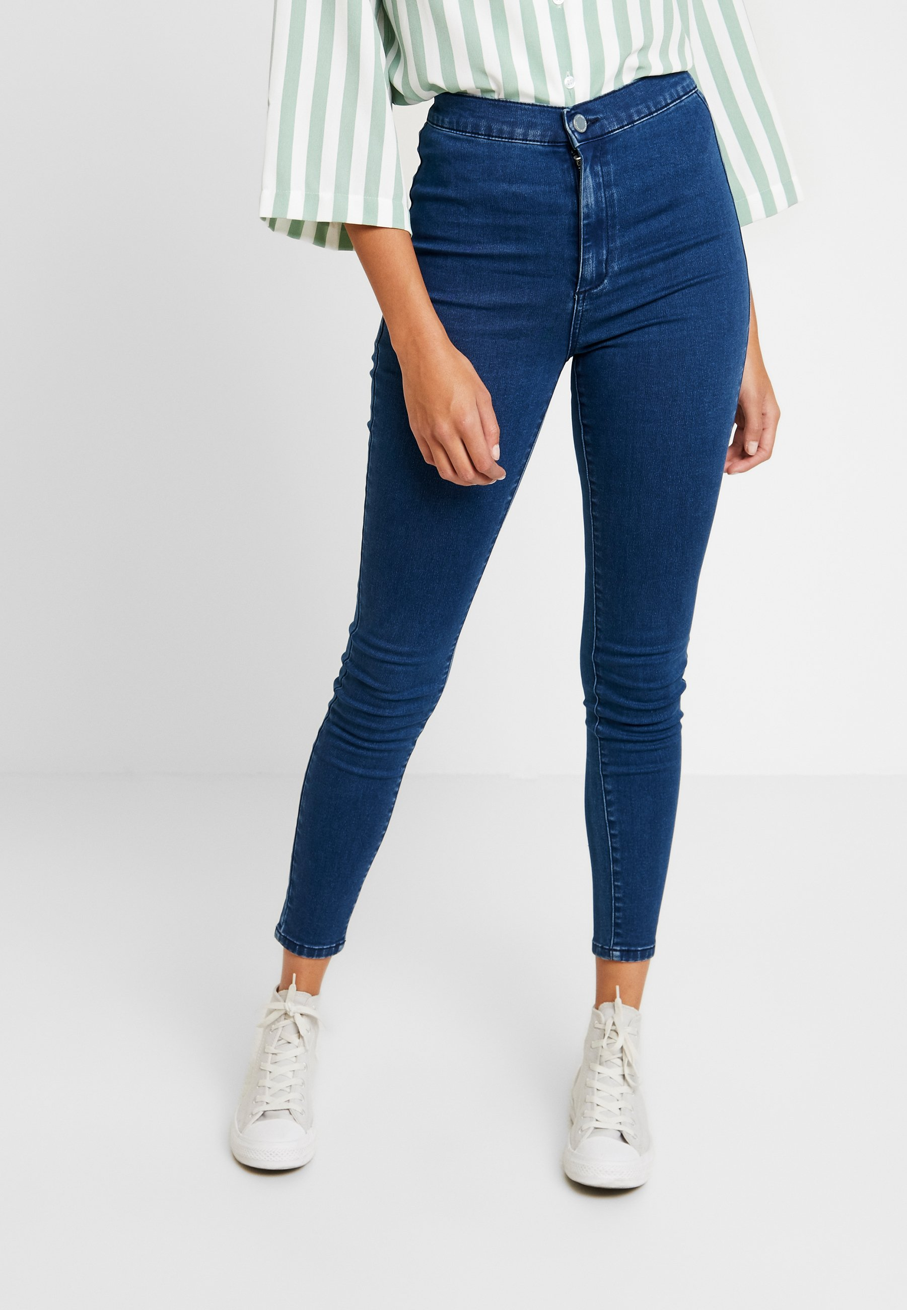 Lost Ink HIGH WAIST - Jeansy Skinny Fit - mid denim